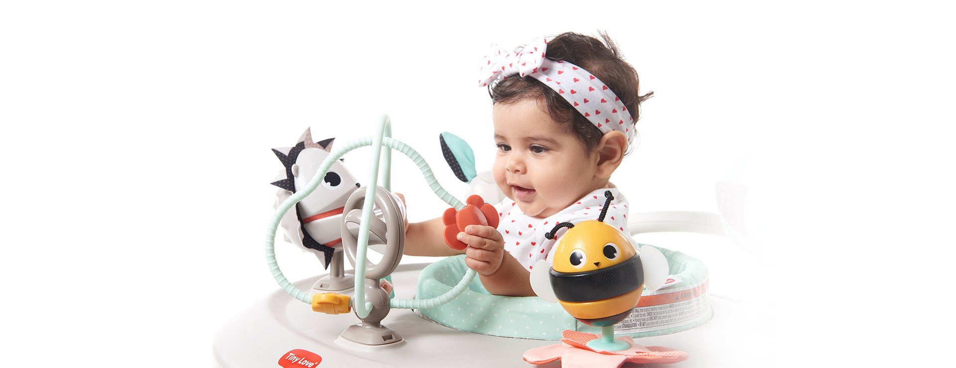 A vareity of toys to stimulate baby's fine and gross motor skill development
