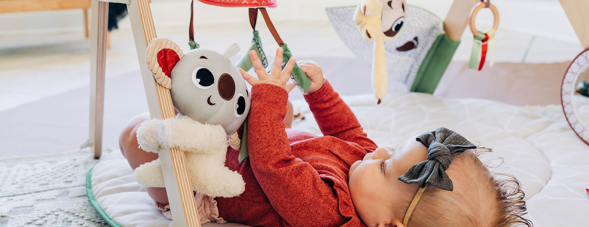 Crinkly eucalyptus mobile offers rich sensory stimulation