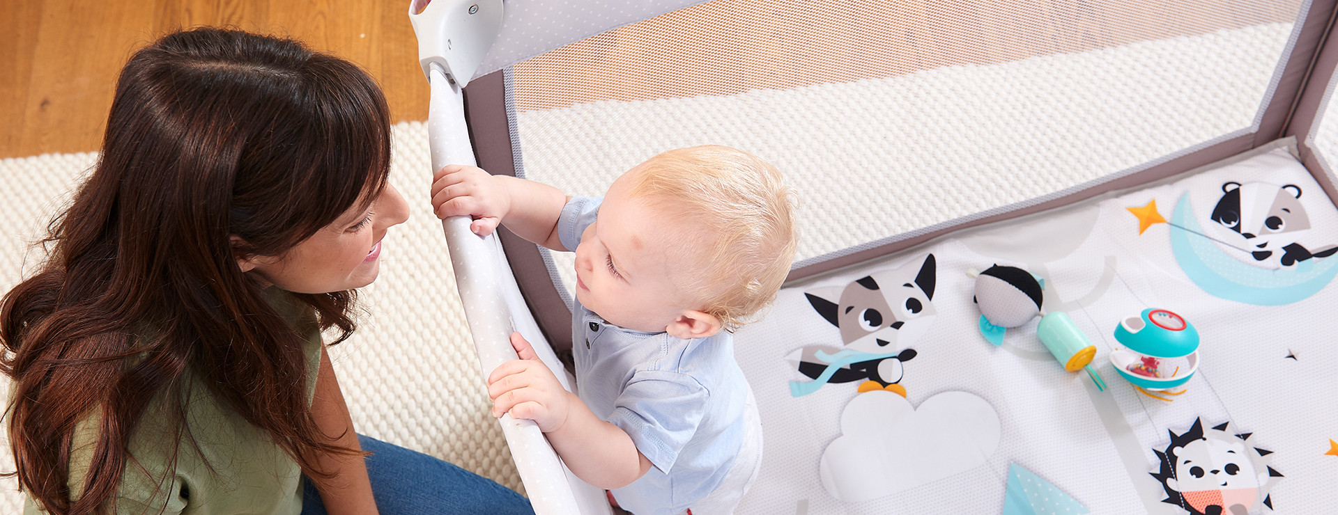 Larger play space is perfect for baby's sleep and awake time