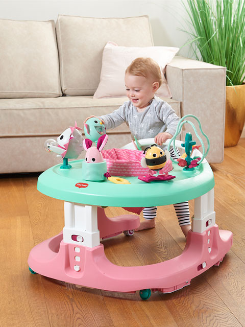 Used as a stationary activity center, push along, jumper or walker