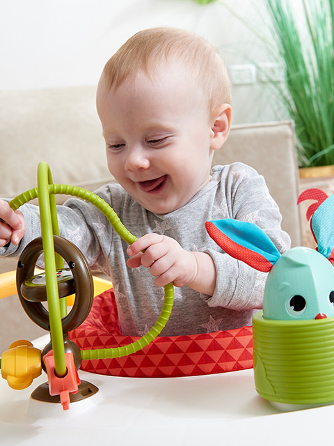 Toy shapes and textures keep baby engaged and entertained