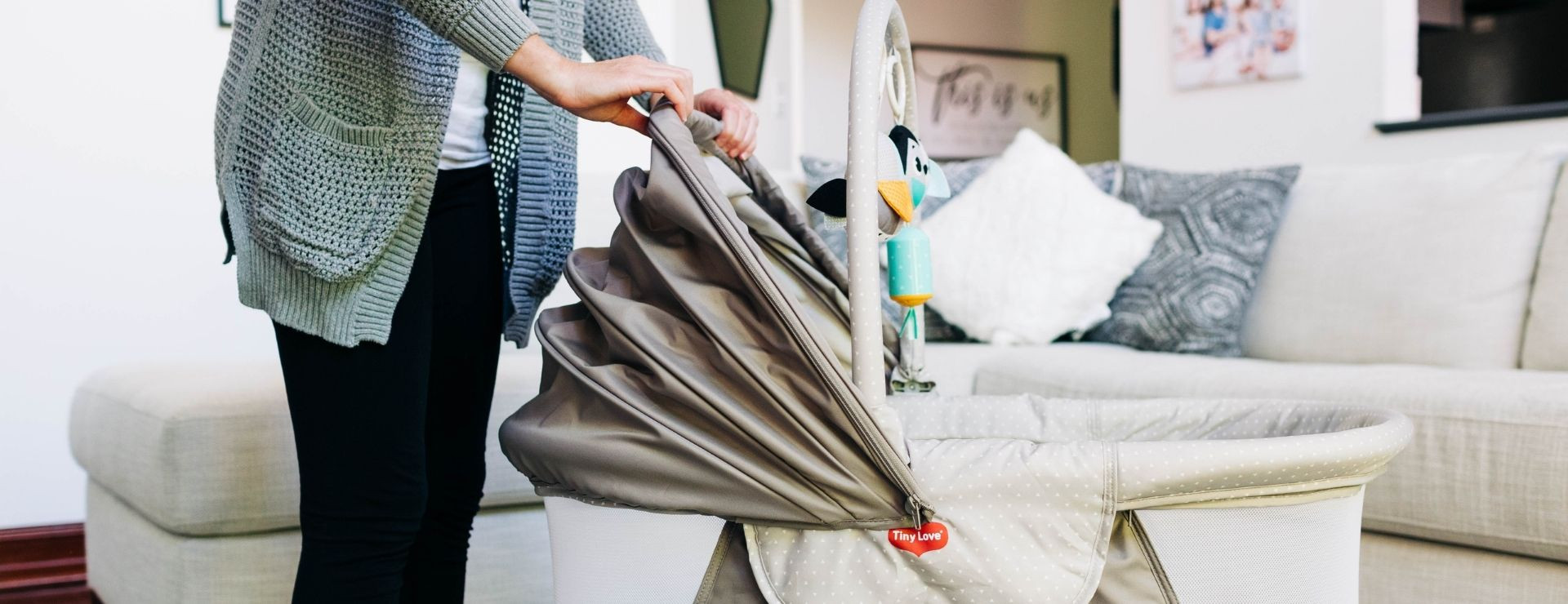 Adjustable canopy helps regulate babies' exposure to stimulation
