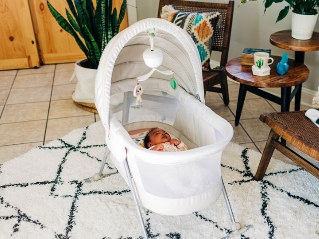 Adjustable canopy helps regulate babies' exposure to stimulation