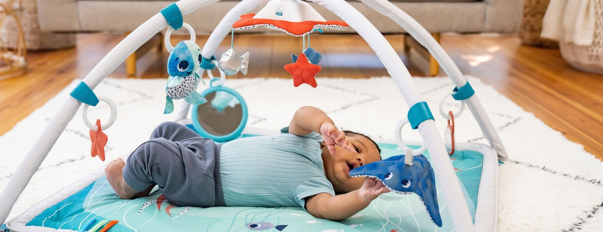 Adorable crinkly manta ray wind chime offers audio stimulation