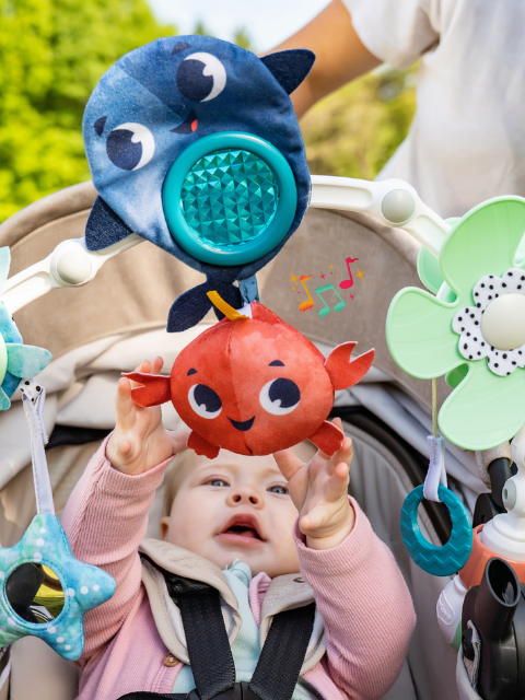 Baby-activated musical crab toy teaches little ones the basics of cause and effect