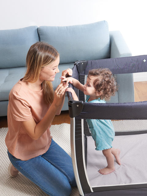 Larger play space is perfect for baby's sleep & awake time