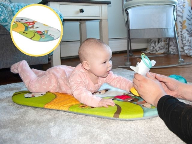 Detachable tummy time mat helps extend tummy time