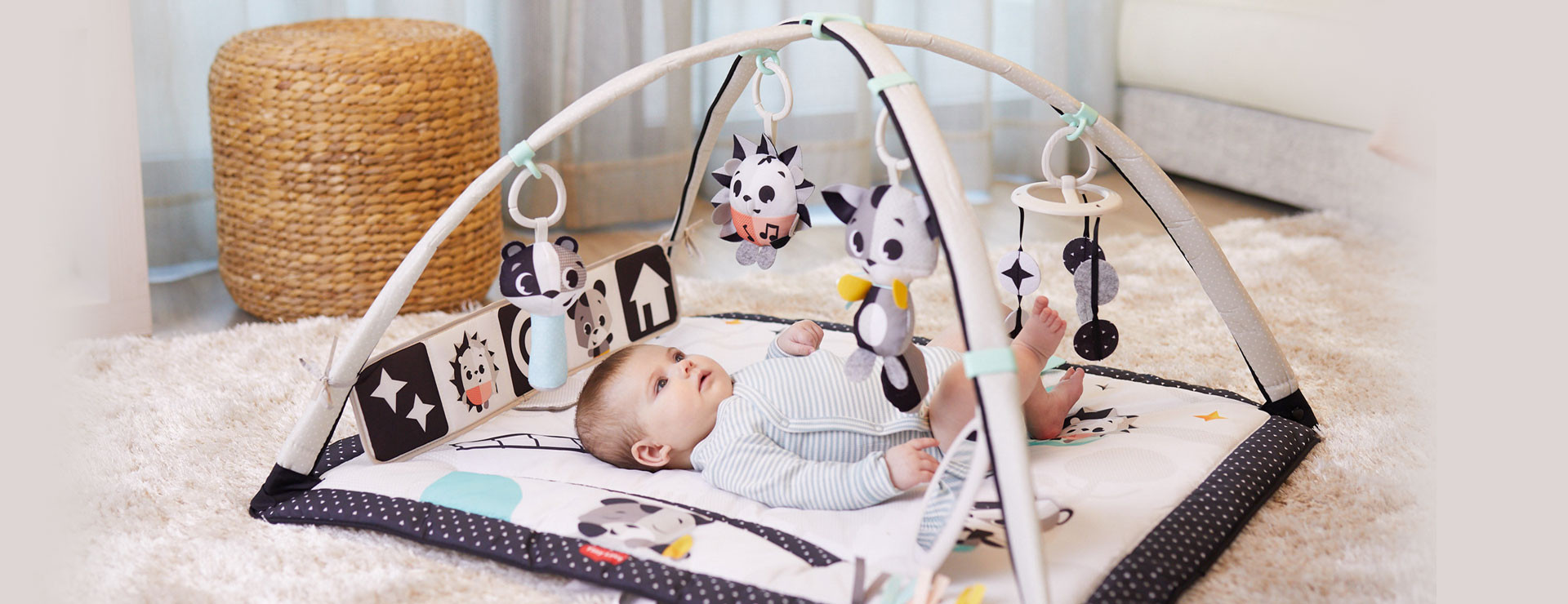 Overhead gym mode helps focus baby's attention