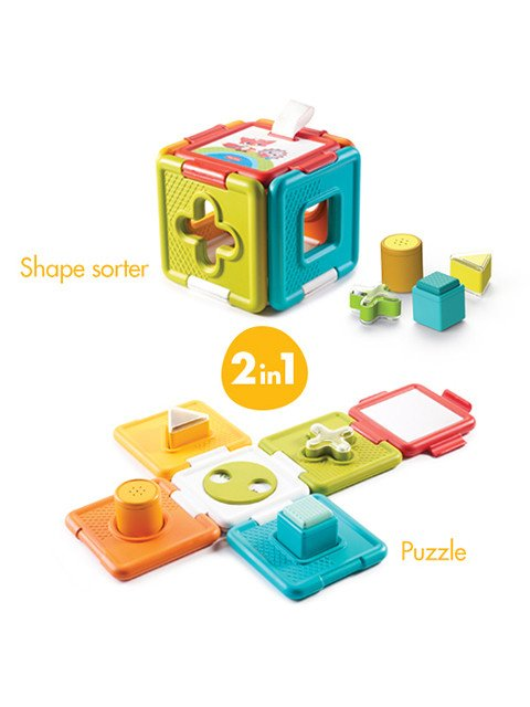 Opens into a puzzle, Combining two toys in one: shape sorter & a puzzle