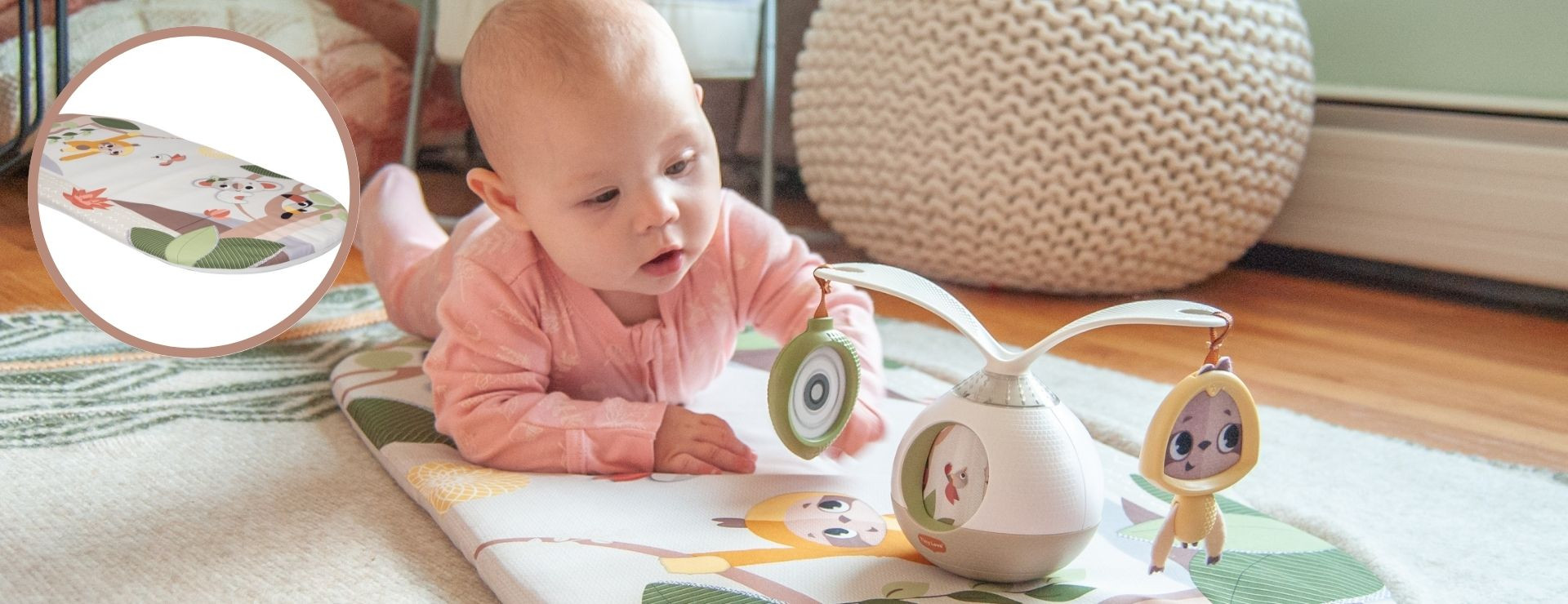Stand-alone tummy time mat support motor development