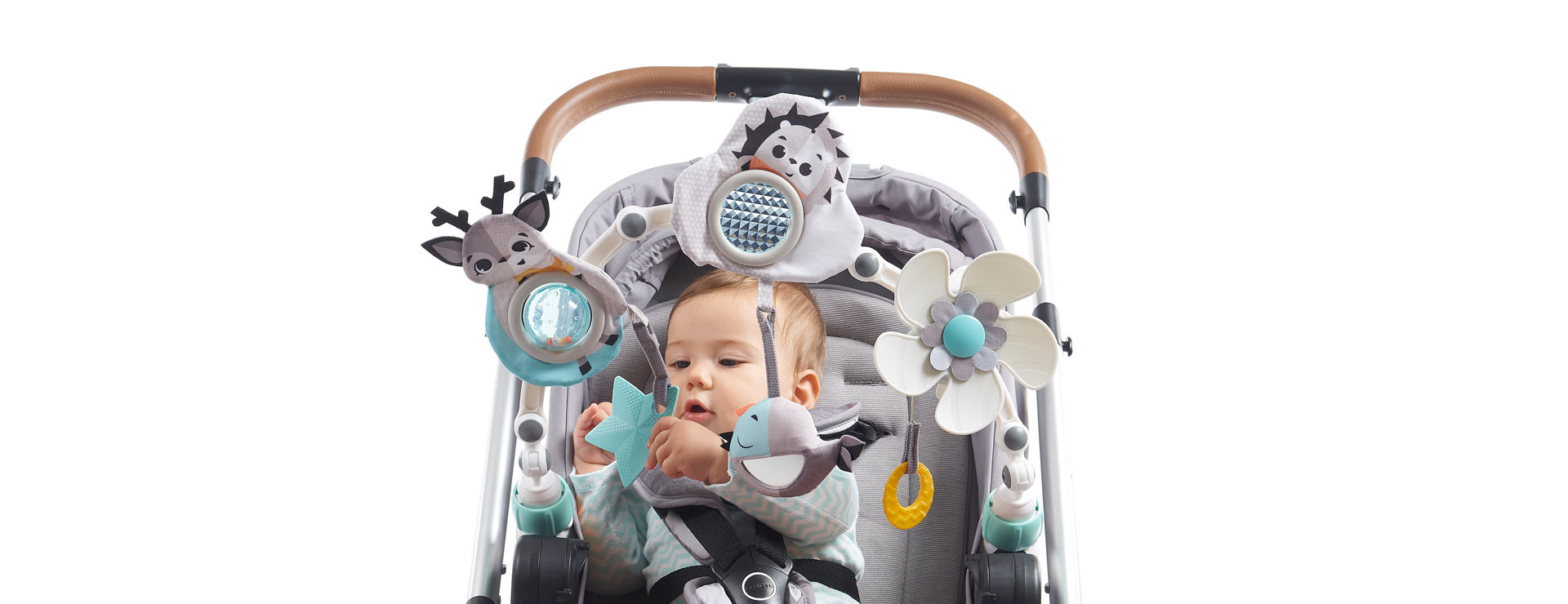 Rattles and smiling characters stimulate your baby's senses