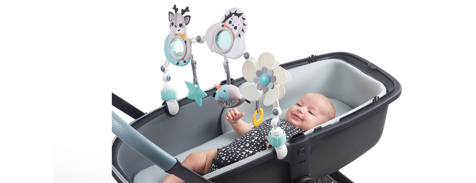 Attaches to most bassinets, for engaging playtime while on-the-go