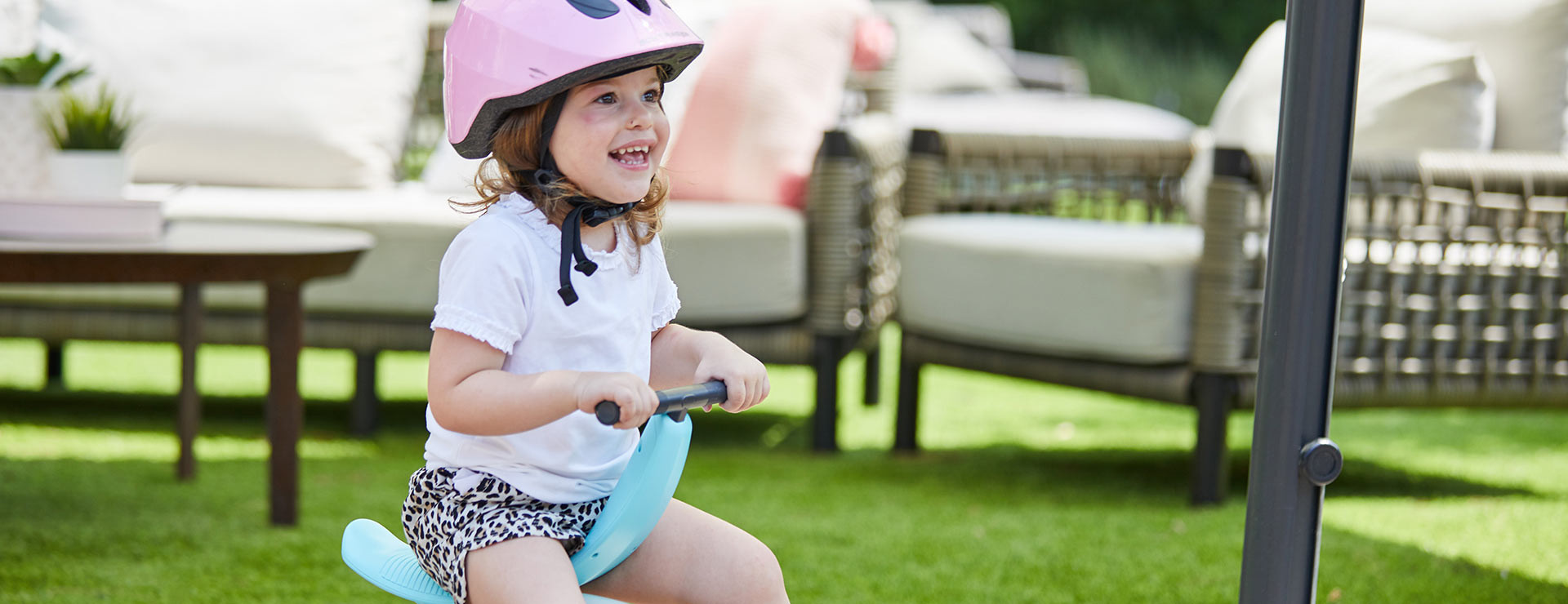 Ride-on mode enables your child to begin exploring their world through riding