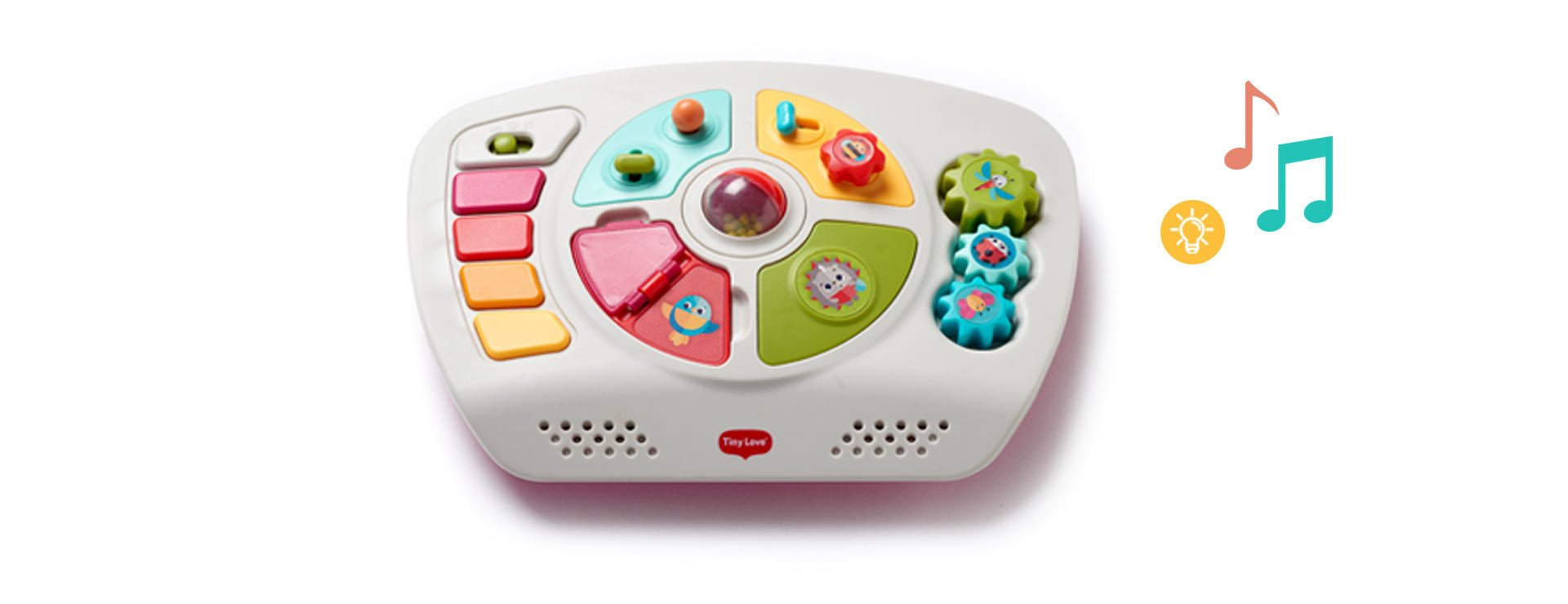 The detachable activity panel with lights and music engages baby's senses