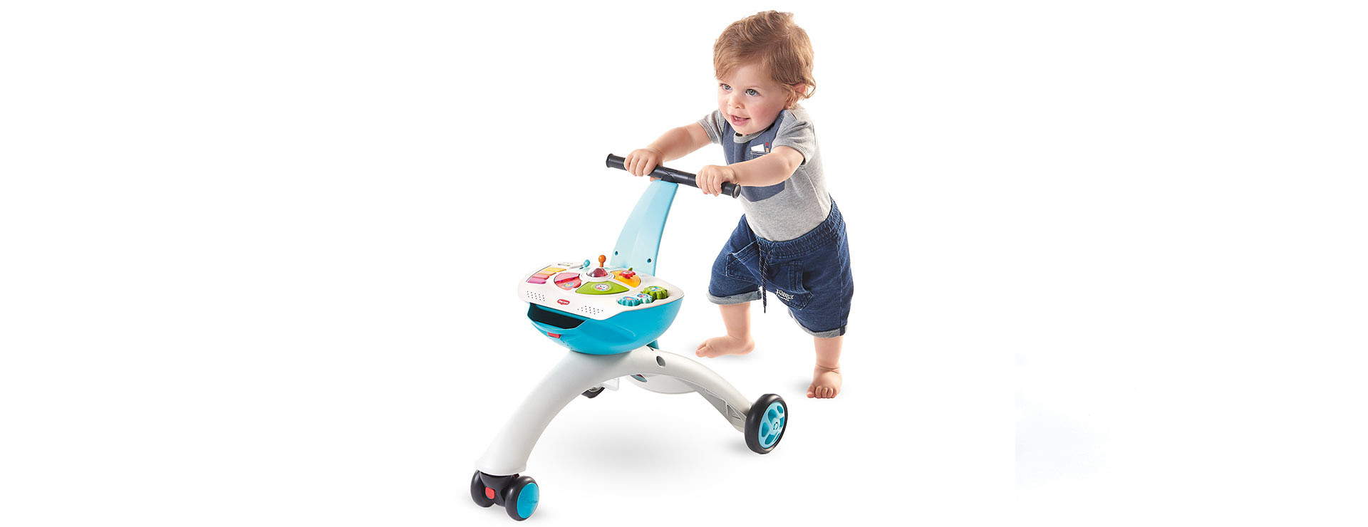 Walk-behind mode enables baby to start their journey into the world of walking