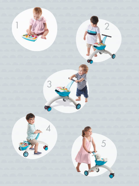 5 versatile modes enable this mobility toy to grow with your baby as they develop & explore their world