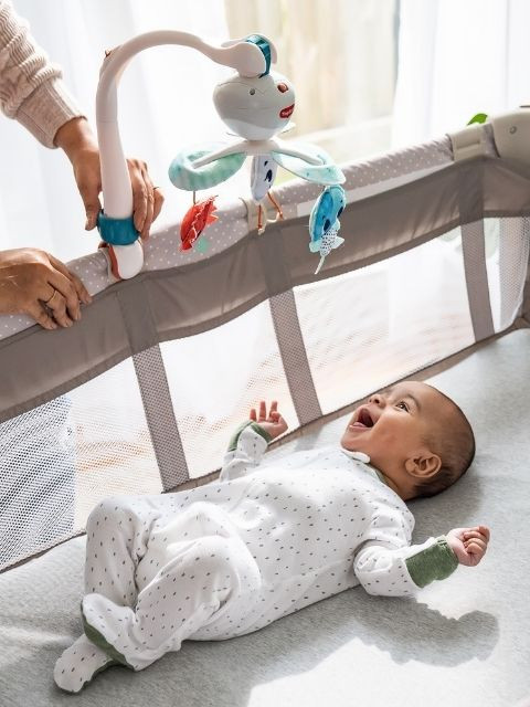 Universal attachment set fits most play yards, strollers, travel cots and bassinets